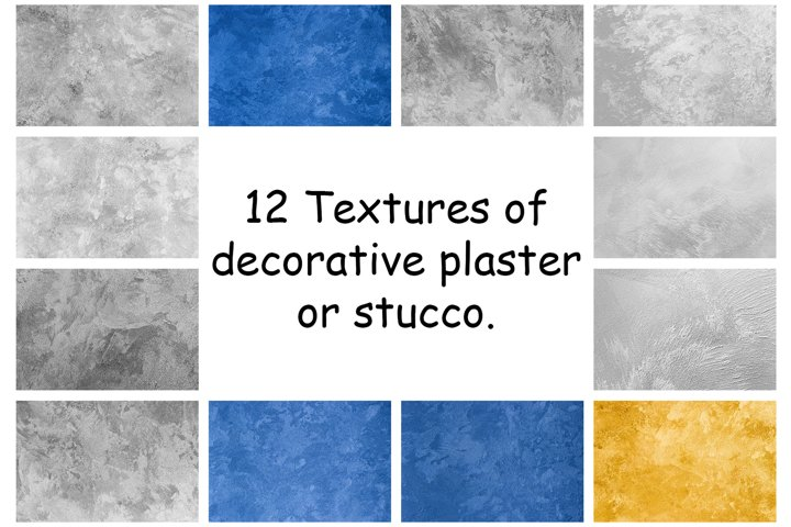 12 Decorative plaster or stucco abstract backgrounds.