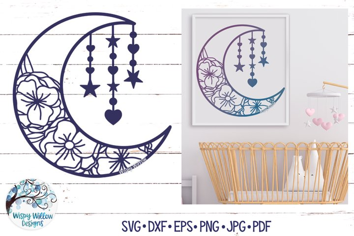 Floral Moon SVG | Moon with Flowers SVG Cut File