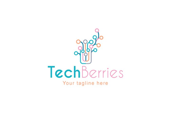 Tech Berries - Electronic Chip Plant Technical Stock Logo