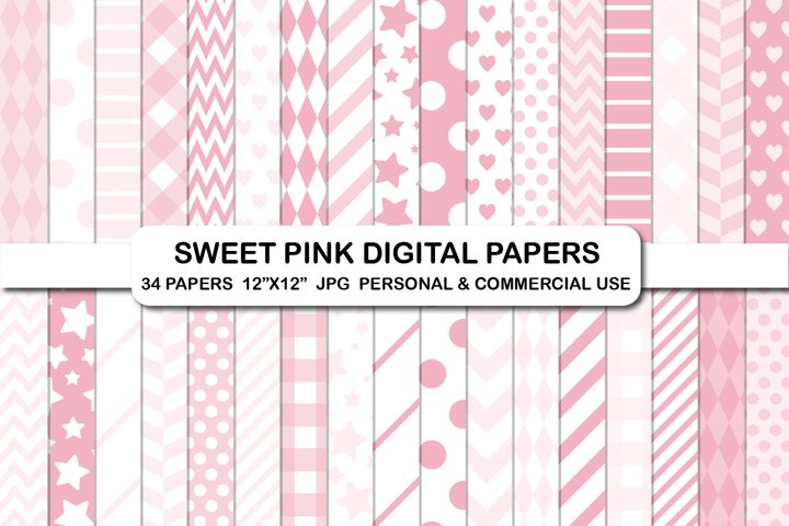 Sweet pink Valentines love hearts background digital papers