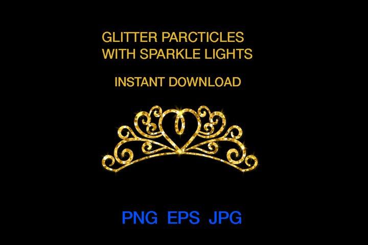 Glitter crown, Tiara Glitter, Gold Digital ClipArt