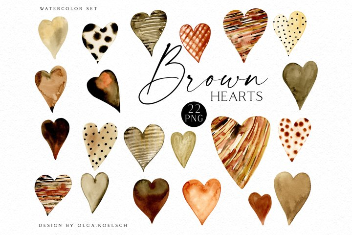Watercolor brown hearts clipart, Black lives matter clipart