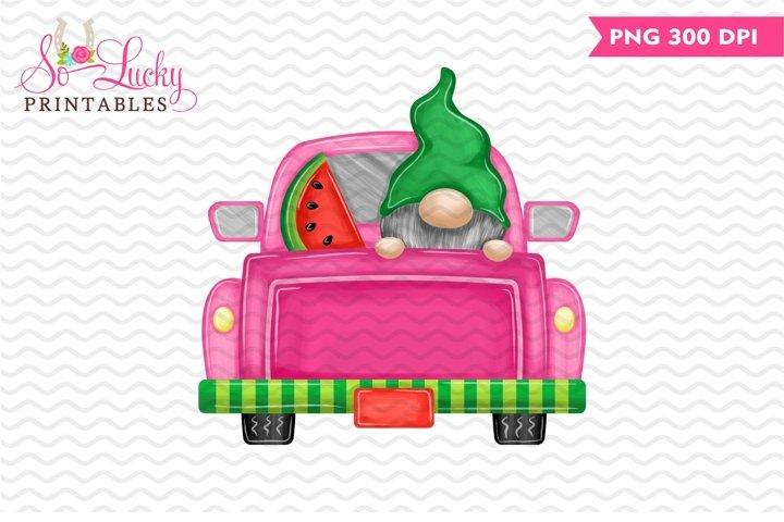 Gnome Watermelon Truck printable sublimation design