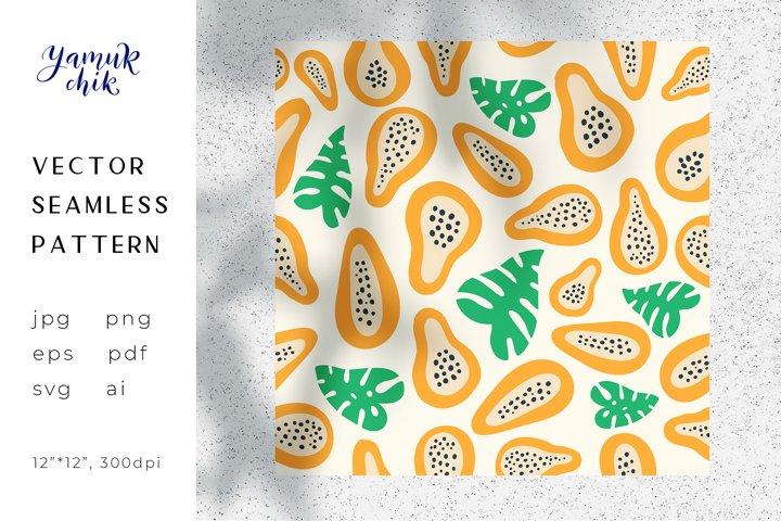 Papaya repeat pattern, Fruit Digital Paper, papaya vector