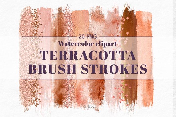 Terracotta Brush Stroke Clipart, Brown Watercolor Brush, PNG