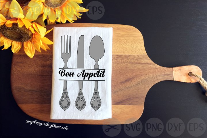 Bon Appétit, French, Utensils, Kitchen, Cut File, SVG, PNG