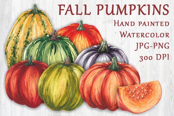 Fall watercolor pumpkins JPG PNG