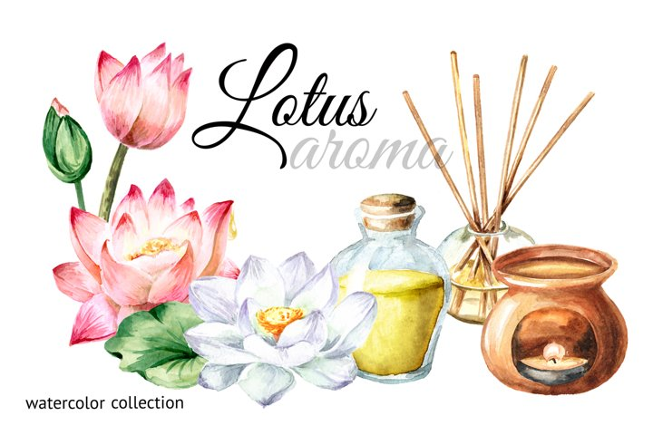 Lotus aroma. Watercolor collection