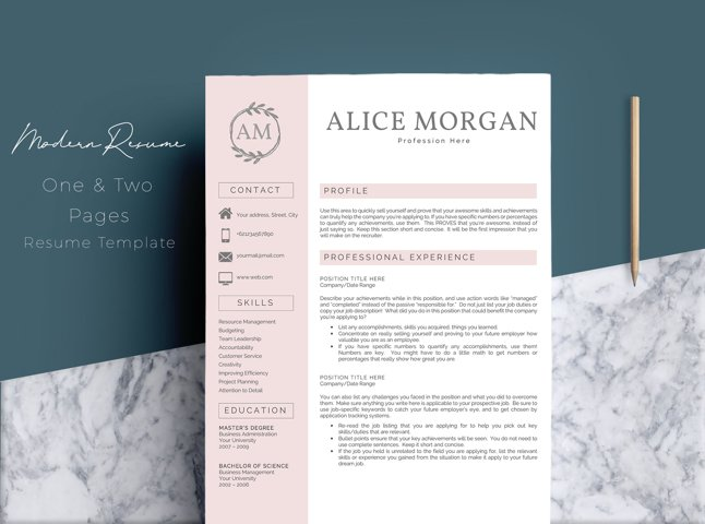 Professional Creative Resume Template - Alice Morgan