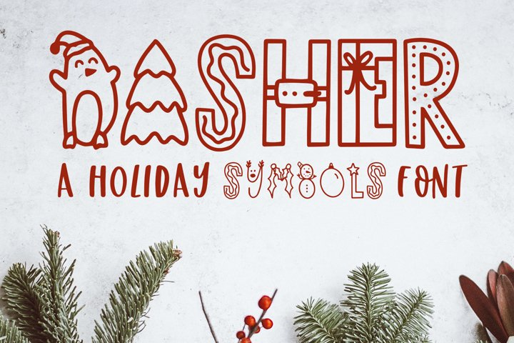 Dasher, A Christmas Holiday Symbols Font