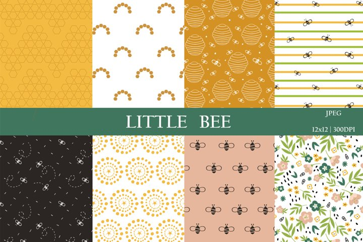 Honey bee digital paper pack / Summer scrapbook paper
