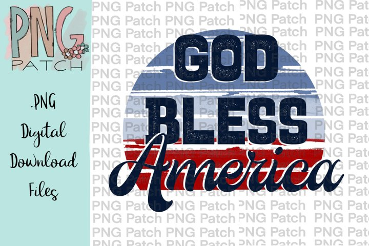 Retro God Bless the USA, Fourth of July PNG File