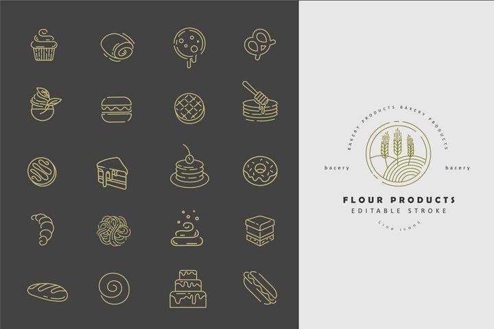 Flour & bacery icons & logos