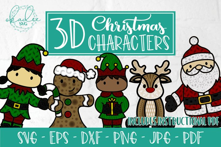 3D Christmas Character Bundle, Layered SVG, Santa, Elf, DXF