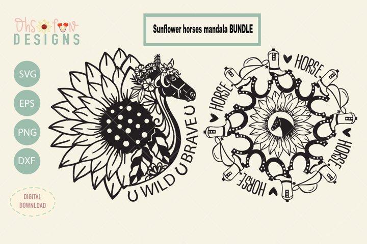 Horse mandala with sunflower, Bundles, SVG files,