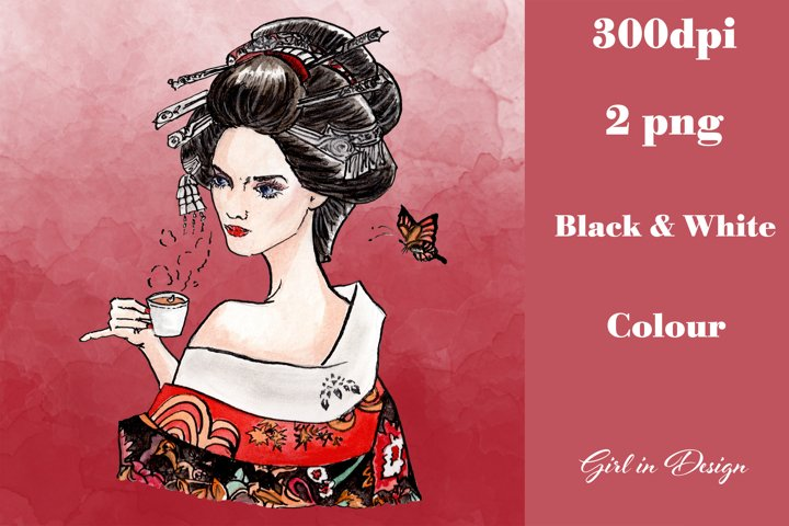 Geisha Drinking Tea Clipart
