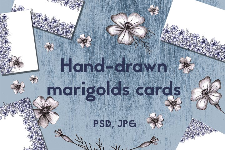 Cards with Hand-drawn Marigolds.