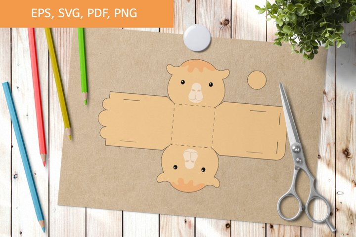 Cute Camel Gift Box Template SVG, Gift Box SVG