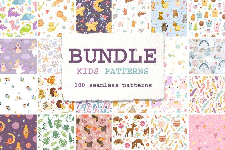 Pattern bundle. Kids patterns. Wallpapers