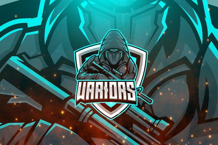 Warrior Pistol Logo E-sport Mascot