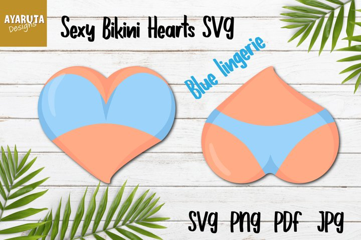 Sexy Bra Panties Bikini Hearts SVG, Valentines Day Gift