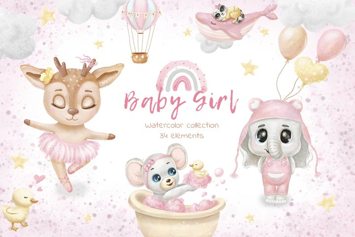 Baby girl clipart -baby pink graphics -watercolor animals