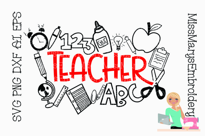 Teacher Title with Symbols | Teaching SVG | School SVG |