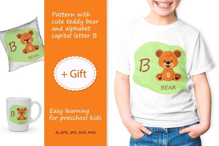 T-shirt with cute teddy bear and alphabet capital letter B