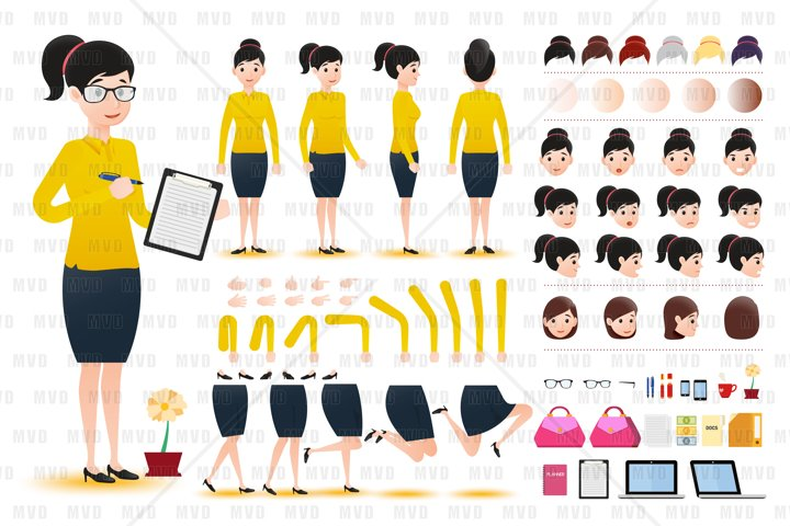 Woman Clerk Wearing Skirt Character Creation Kit Template