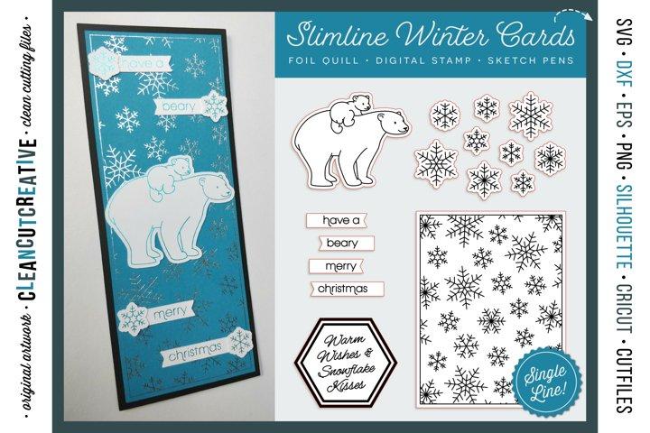Foil Quill Winter Slimline Card pack polar bear snowflakes