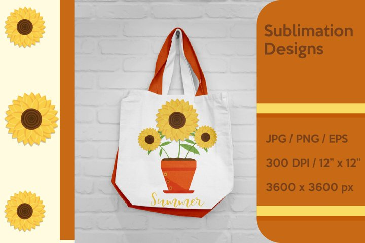 Sunflowers in the pot Sublimation and Clipart