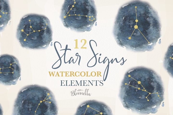 Star Signs Collection12 Watercolor Zodiac Constellation Sky