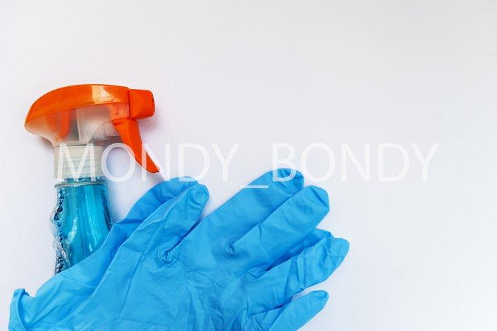 detergent blue gloves on a white background.