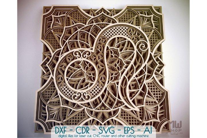 Leo Zodiac Sign, Multilayer Leo Mandala pattern, Leo SVG DXF