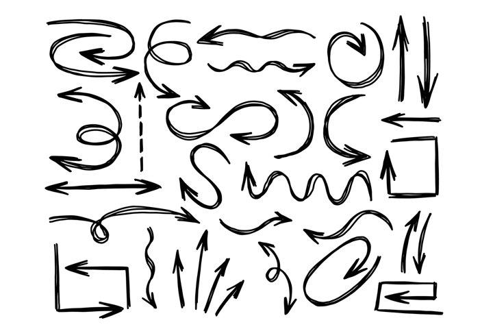Arrow set hand drawn