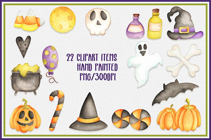 Halloween watercolor clipart sticker planner scrapbook png