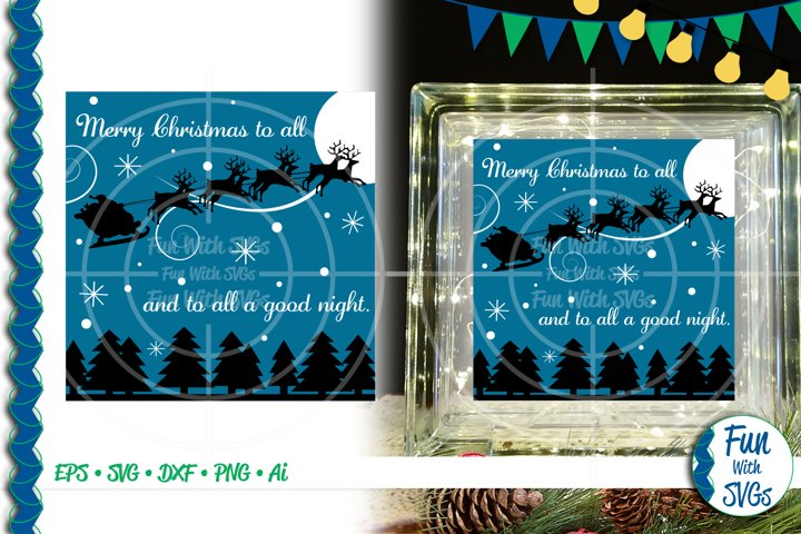 SVG Merry Christmas To All Glass Block Cut File, FWS459