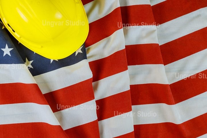 Happy Labor day american patriotic USA flag yellow helmet