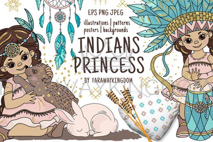 INDIANS PRINCESS Pocahontas Thanksgiving Vector Illustration