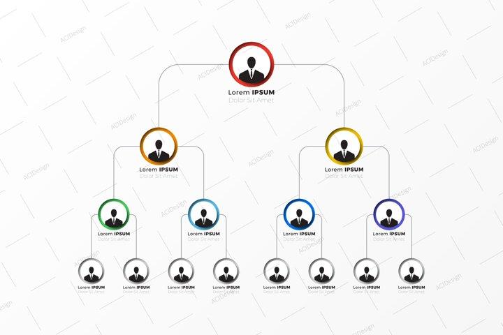 Corporate multi-level hierarchy structure graphic template
