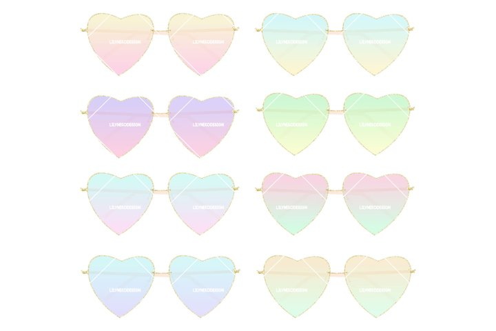 Heart shaped Sunglasses Clipart Illustration