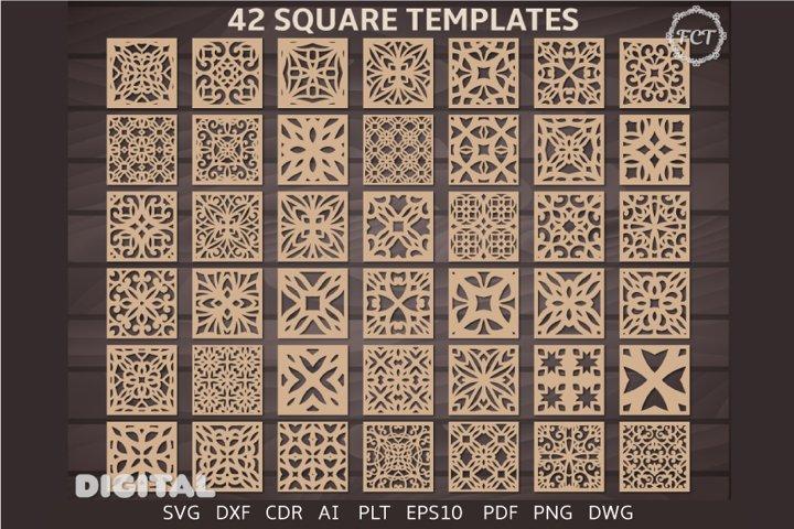42 Square Panel Svg Laser cut Coaster DXF Wall decor Cricut