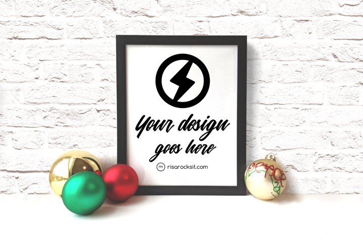 Picture Frame with Christmas Ornaments Craft PNG Mockup