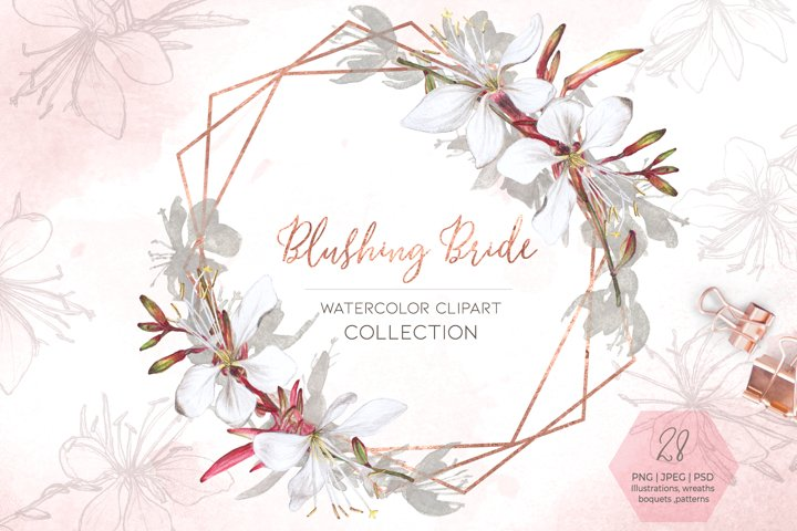 Blushing Bride Watercolor Clipart Floral Collection