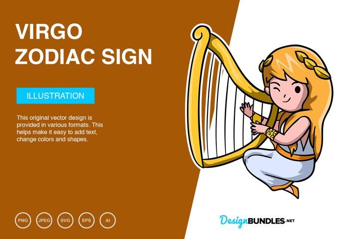 Virgo Zodiac Sign Vector Illustration