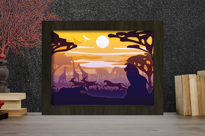 Simplified Africa 3D Paper Cut Light Box - Shadow Box
