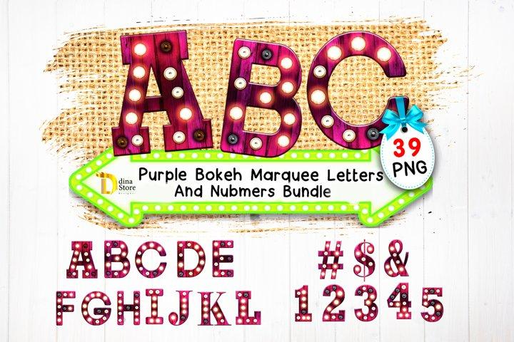 Purple Bokeh Marquee letters & Numbers Bundle