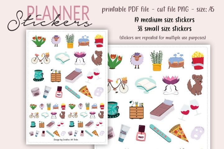 Bullet Journal Stickers - Printable PDF, PNG cut file, cute