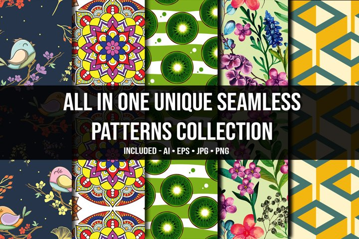 All in One Unique Seamless Patterns Collection
