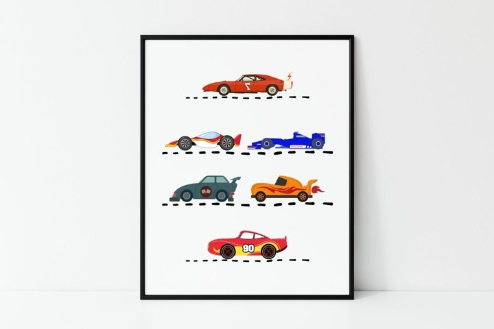 Race Cars Printable Sign